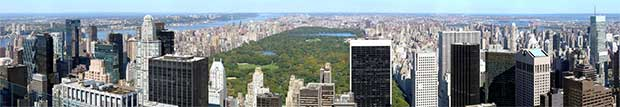 Panoramabild över Central Park i New York USA