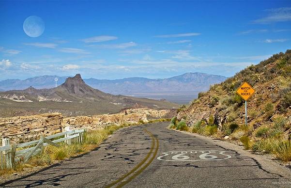 En vacker utsikt på roadtrip på Route 66